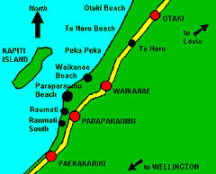 Map of towns on the Kapiti Coast