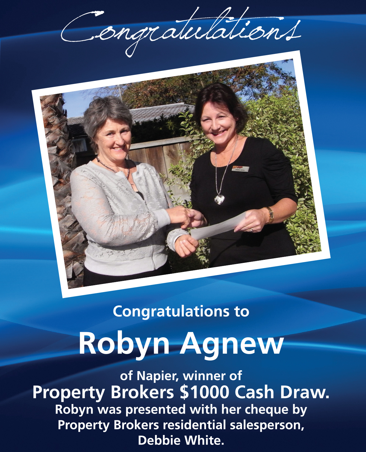 Debbie $1000 Winner May 2014